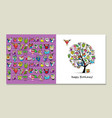 greeting card design funny owls tree vector image vector image