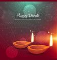 beautiful happy diwali diya greeting card vector image