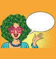 environmentalist woman with hair in a forest vector image