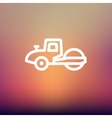 Road roller thin line icon vector image