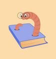cartoon bookworm and a book vector image