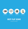 flat icon computer set of computer display vector image
