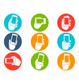 hands holding mobile phone icons buttons set vector image