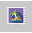 Island with palm trees flat stamp long shadow vector image