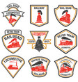 set of emblems templates with retro train vector image