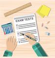 Student hand fills examination quiz paper vector image