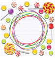 background with candies and doodles vector image