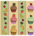 Cupcake seamless pattern Strawberry chocolate vector image