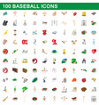 100 baseball icons set cartoon style vector image vector image