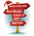 merry christmas wood road signs arrows vector image
