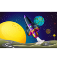 A colorful aircraft near the moon vector image vector image