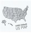 Hand drawn US map vector image