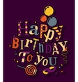 Birthday card Colorful letters balloons vector image