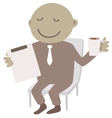 Man with tablet and cup of coffee vector image