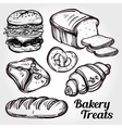 Baker shop and pastry icons set in vintage style vector image