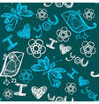 I love you seamless pattern with butterflies and vector image