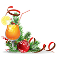 Orange cocktail spruce branches and baubles vector image
