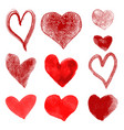 set of hand drawn hearts isolated on white vector image