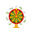 wheel of fortune and money dollar banknots vector image