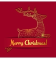 Merry Christmas card on paper with deer vector image