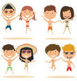 cute couples jumping on the beach vector image vector image