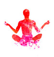 watercolor silhouette of a meditating man vector image