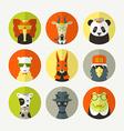 Set of stylized animal avatar vector image