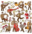 musicians - cartoons set vector image