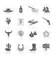 Cowboy Icons Black vector image