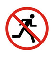 no run sign vector image