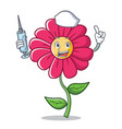 nurse pink flower character cartoon vector image