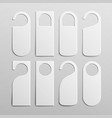 paper plastic door handle lock hangers set vector image