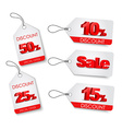 Set of white labels with a red 3D text vector image