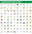 100 brainstorm icons set cartoon style vector image