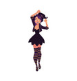 pretty girl woman in pointed hat witch halloween vector image