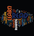 Learn how to read text background word cloud vector image