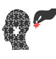 hand took head jigsaw puzzle vector image vector image