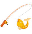 Fishing pole with hook and fish vector image