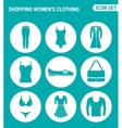 set of round icons white Shopping women s vector image