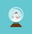colored glass ball icon with snow and snowman vector image