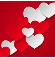 hearts red background vector image