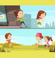 kids sport outdoors horizontal banners vector image