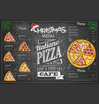 vintage chalk drawing christmas pizza menu design vector image