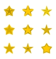 Five-pointed star icons set flat style vector image