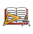 open notebook with study tools icon vector image