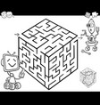 maze with robots for coloring vector image