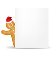 Gingerbread Man With Santa Hat And Blank Gift Tag vector image