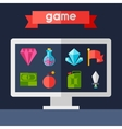 Background with game icons in flat design style vector image vector image