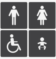 restroom icons lady man child and disability vector image
