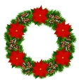 Christmas wreath with poinsettia vector image vector image